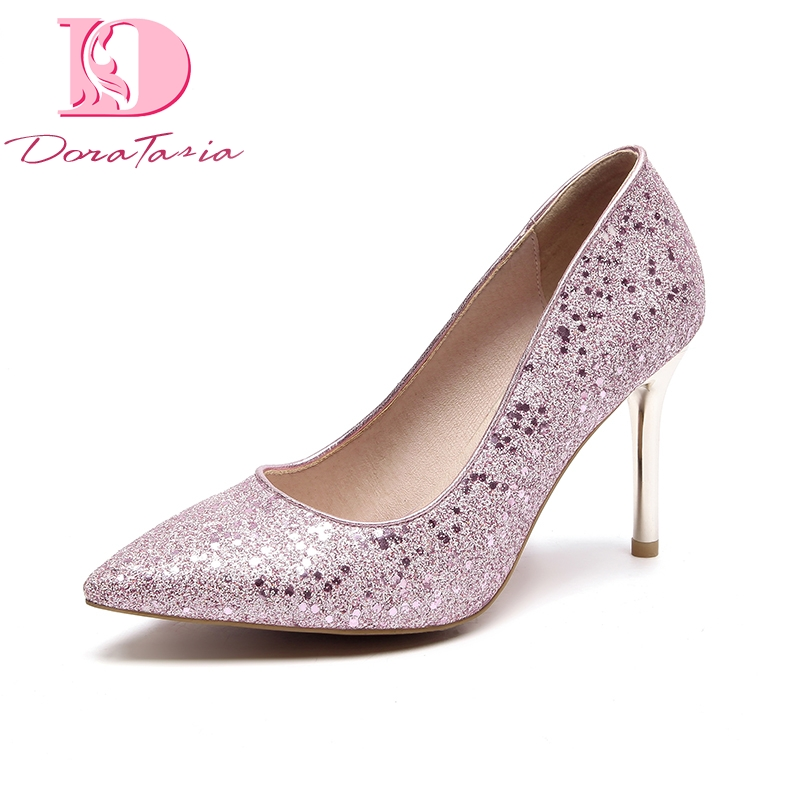 DoraTasia fashion 2018 brand plus size 33-48 women pumps pointed toe slip on shoes woman thin high heels party wedding pumps doratasia embroidery big size 33 43 pointed toe women shoes woman sexy thin high heels brand pumps party nightclub