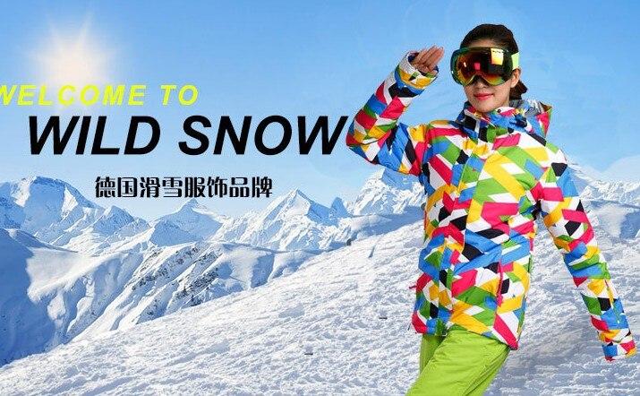 Prix pour 2017 femmes veste de ski femme snowboard ski veste coloré bande de neige usure sports d'hiver imperméables veste vêtements de ski anorak