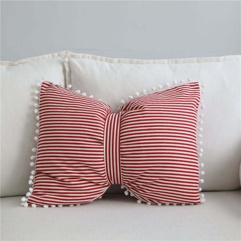 cute Pure color stripe Bow tie knot throw pillow filling soft cotton decorative bed couch back waist lumbar pillow cushion in Decorative Pillows from Home Garden