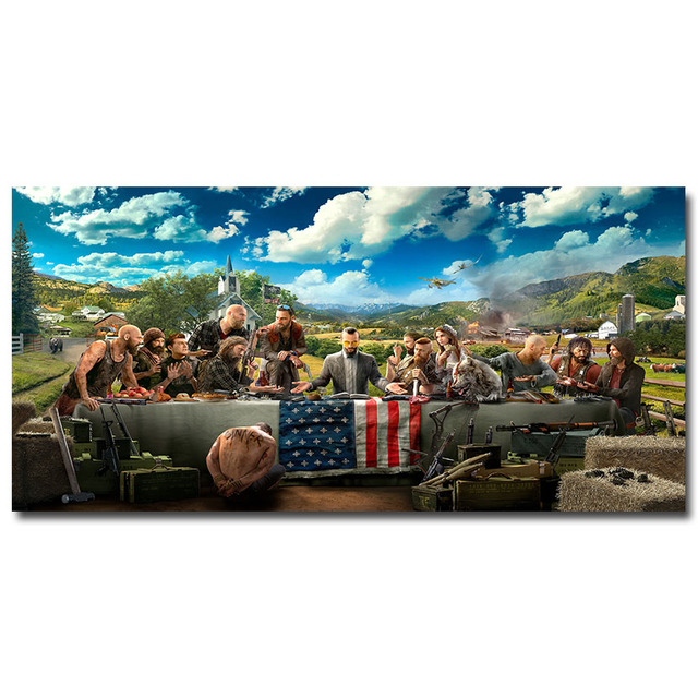 Плакат гобелен Far Cry 5 шелковой ткани
