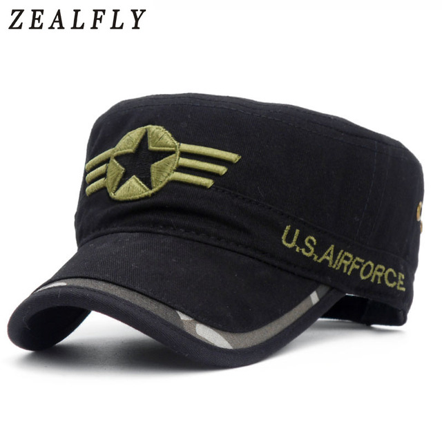 bb79ce84604 2018 Men Five-pointed star Army Flat Top Military Caps USA U.S Air Force  Army Military Hat Camouflag Caps