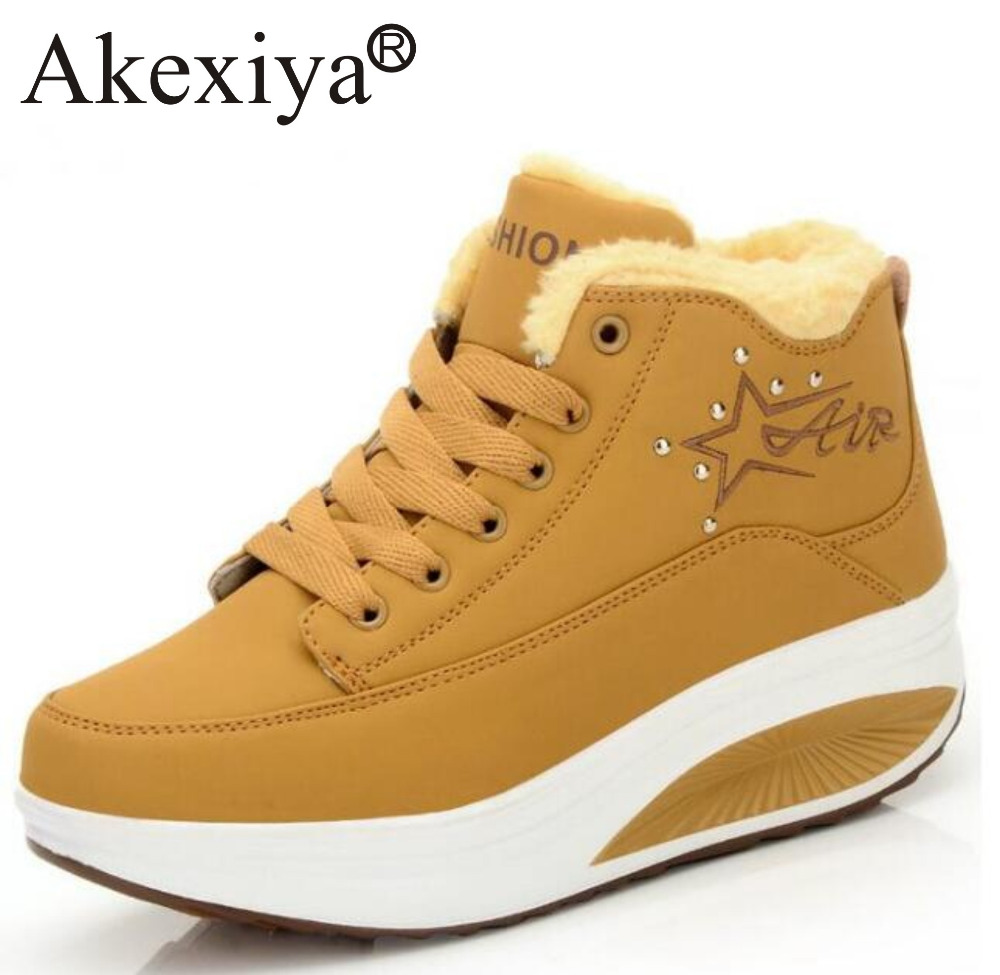 Akexiya Swing Fitness Shoes Women Cotton-padded Winter Outdoor Snow Boots Wedge Sneakers Height Increase Slimming Running Shoes