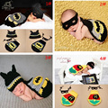 Crochê batman bebê fotografia props bebê recém-nascido roupa infantil meninos voltando para casa roupas batman super hero costume 1 conjunto