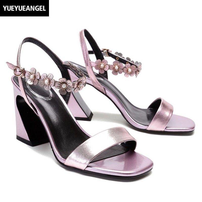 Block High Heels Open Toe Real Cow Leather Sandals Women 2018 New Summer Floral Buckle Pink White Ladies Sandals Sapato Feminino floral decoration vocation sandals in pink