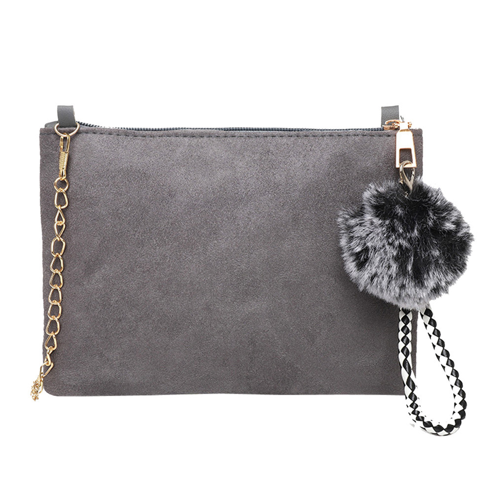 Women Hairball Solid Color Suede Crossbody Clutch Shoulder Phone Bag Lady  Women Bag For 2018 Hotselling Fashion Handbags New e0796bf583fac