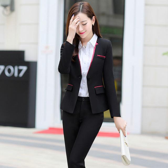 Plus Size 3XL Mulheres Formais Elegantes Terninhos 2016 de Forma Magro negócio Desgaste do Trabalho Uniforme Venda Quente Casaco E Calças de Terno conjuntos