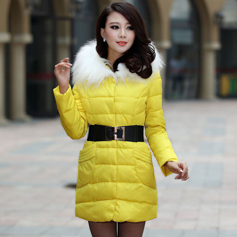 ФОТО 2013 women autumn winter fashion candy color faux wool fur collar hood Slim long thick cotton-padded coatM/L/XL D2151
