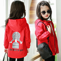 baby girls clothes kids outerwear child trench baby outerwear spring and autumn 2016 zipper child hooded trench girl print coat