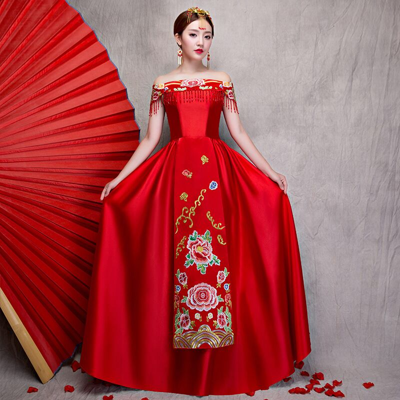 Chinois Star style mariage spectacle broderie cheongsam robe robe vêtements pratensis dragon robe de soirée robe noiva Qipao Vestido