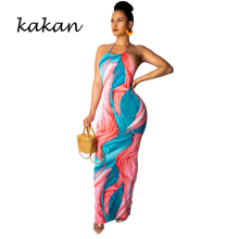 Kakan summer new womens print dress sexy strapless backless sleeveless tie-dyed nightclub strap