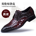 Hombres de gran tamaño de la moda vestido formal de la boda de negocios transpirable zapatos de cuero genuino del patrón del cocodrilo oxfords punta estrecha zapato