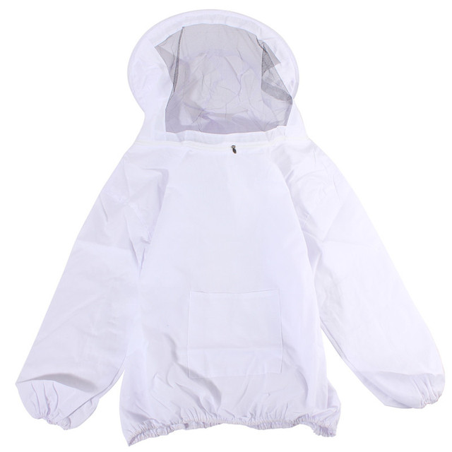 Protective Bee Keeping Jacket Veil Suit +1 Pair Beekeeping Long Sleeve Gloves Outdoor Safely Security Protector White Cotton