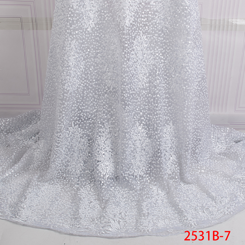 French Organza Lace Fabric 2019 White Latest african lace fabric with embroidery mesh tulle Sequins lace