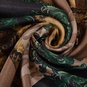Image 5 - [BYSIFA] Marke Blau Grün Silk Schal Schal Weibliche Zubehör Frühling Herbst Floral Muster 100% Seide Frauen Lange Schals wraps