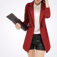 POENFLY blazer spring autumn new blazer women jacket slim medium long plaid long sleeve casual suit blazer Female