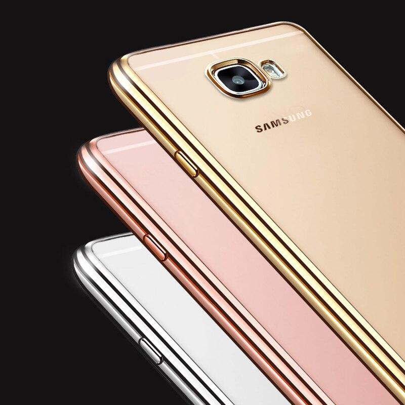 Galleria fotografica Coque For samsung galaxy A3 A5 2017 A7 J7 Prime Case Clear Transparent Plating Soft TPU Back Cover for Samsung Galaxy J5 Prime