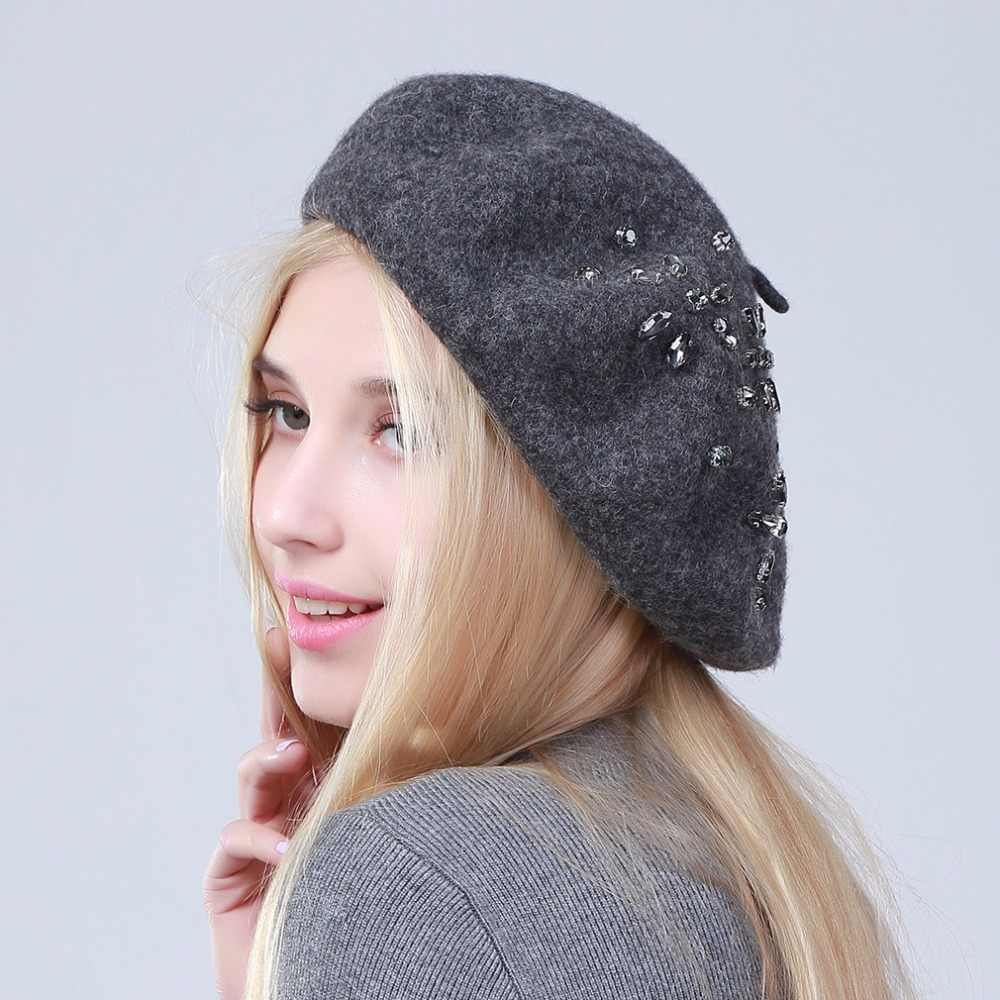 8728d63f0ca ... Geebro Women s Beret Hat Fashion Solid Black Wool Knitted Berets With  Rhinestones Ladies French Artist Knit ...