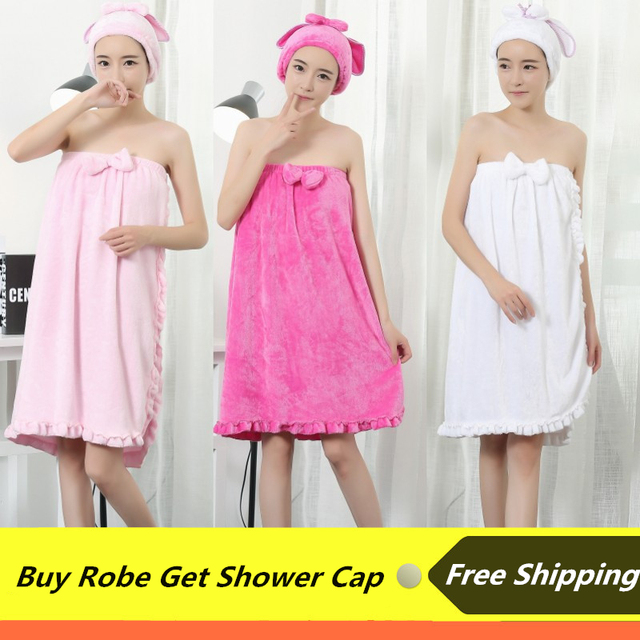 Cute Women Bathrobe With Shower Cap Solid Knee Length Pajamas ...
