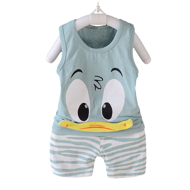 Summer Boys Clothing Sets Baby Children Fashion Cotton Cartoon Donald Duck Vest T-shirt Shorts Suits Kids Clothes Sets Costume