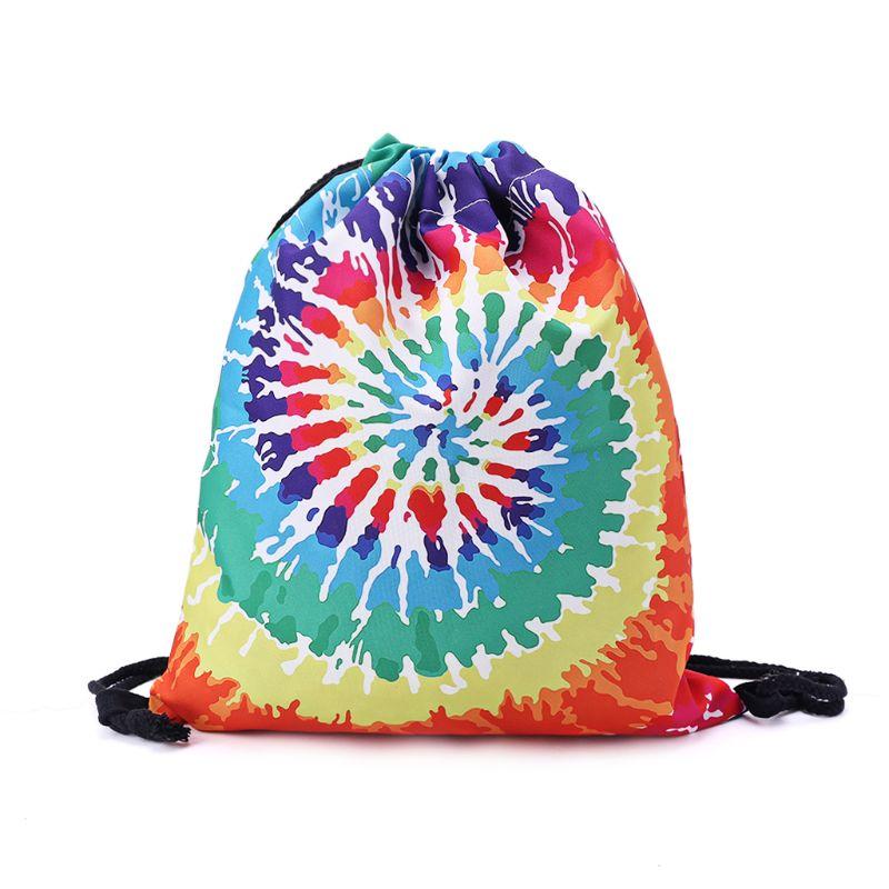 3D Printing Drawstring Backpack Bag String Sackpack Outdoor Sports Travel Cinch Sack