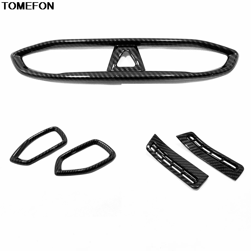 For <font><b>Hyundai</b></font> <font><b>Santa</b></font> <font><b>Fe</b></font> 2019 2020 Center Control Side Front Air Conditioning Vent Carbon Fiber Trim Cover Car Interior <font><b>Accessories</b></font> image