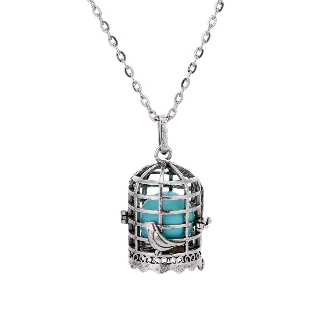 1 Pcs Antique Colors Pregnancy Ball Sound Ball Cage Locket Pendant For Mothers-to-be With 80cm Chain
