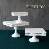 Square cake stand white iron metal cake tools high quality wedding table decoator home decoration bakeware Kitchen,Dining & bar