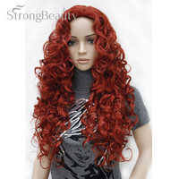 Strong Beauty Blonde Light Gold Brown Blonde Long Curly Synthetic Full Wigs For Women Many Colors