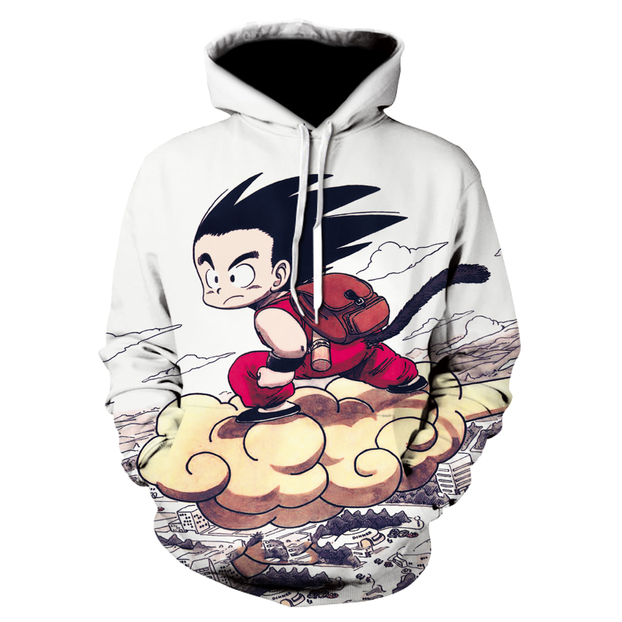 Anime Dragon Ball Z Pocket Hooded Sweatshirts Kid Goku 3D Hoodies Pullovers Men Women Long Sleeve Outerwear New Hoodie