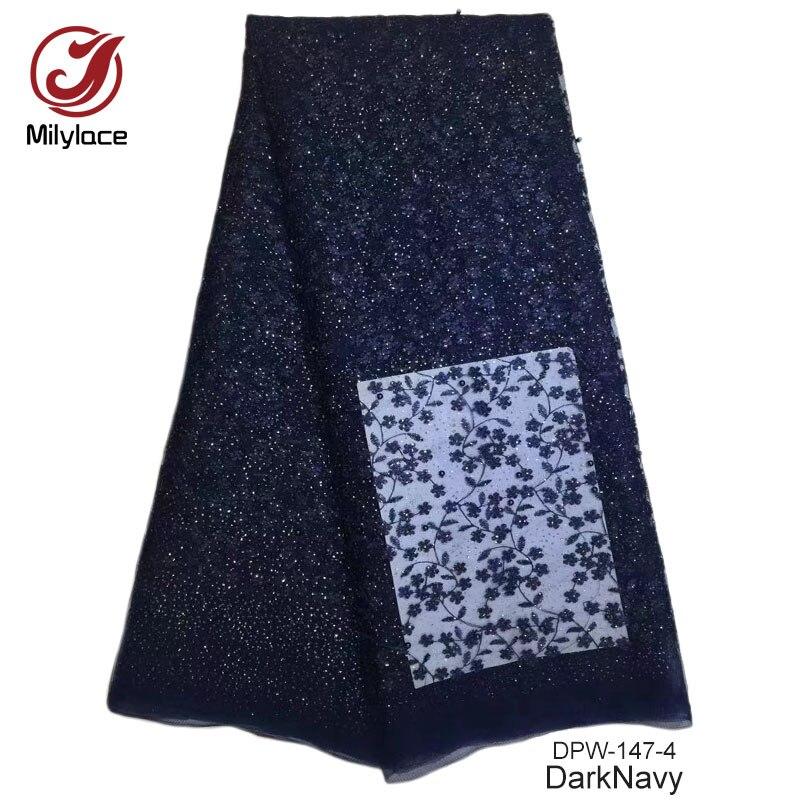 Новое поступление хороший дизайн Африканский кружевной ткани тюль кружевной ткани с бисером Довольно вышитые французское кружево ткань ...