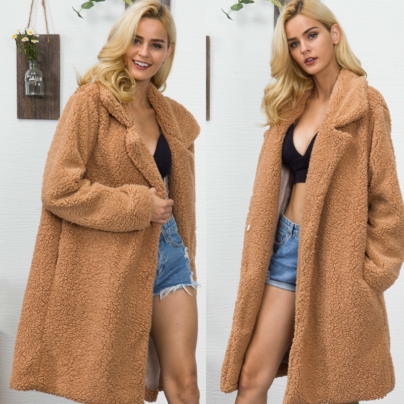 Faux Fur Lamb Wool Long Shaggy Cardigan Lapel Collar Warm Fluffy Jacket Teddy Bear Coat Plus Size Trench Winter Coat Outerwear