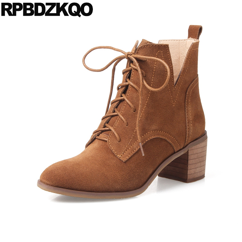 Chunky British Vintage Suede Women Genuine Leather Shoes Booties High Heel Front Lace Up Casual Ankle Boots Autumn Brown ShortChunky British Vintage Suede Women Genuine Leather Shoes Booties High Heel Front Lace Up Casual Ankle Boots Autumn Brown Short