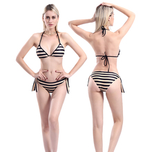 New Sexy Black Striped Bikini Women Swimsuit Backless Halter Bathing Suit S-L Girl Strappy Bandage Swimwear Micro Bikini Set stylish halter strappy backless crochet underwire bikini set for women