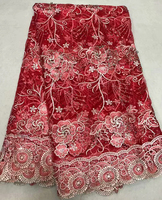 Allover Big Korea stones Red gold French Lace Mesh net lace African tulle fabric Super Rich top quality 5 yards per piece