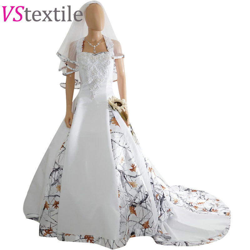 Halter White Camouflage Wedding Dresses 2019 Camo Bridal Gowns With Veil Vestido De Noiva Custom Make Size Free Shipping The Latest Fashion