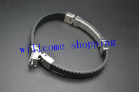 1PC Adjustable Length Fashion Man Bracelet Unique Design Double Wire Silicone Wristband Punk Fold Over Clasp Free Shipping