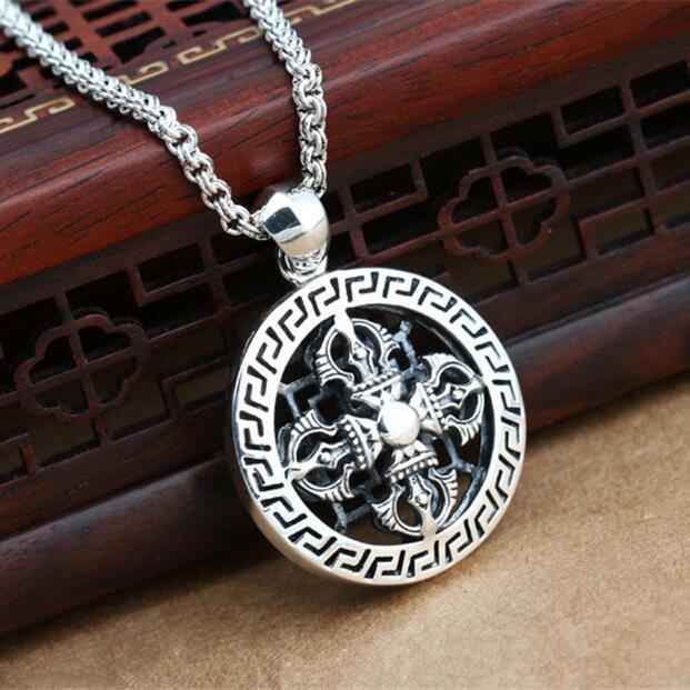 100% Solid 925 Sterling Silver Vintage Cross Medallion Pendant For Necklace Gothic Punk Style 100% Sterling Silver 925 Jewelry solid silver 925 vajra pendant charms for necklace men real 925 sterling silver jewelry gothic punk style thai silver bijoux men