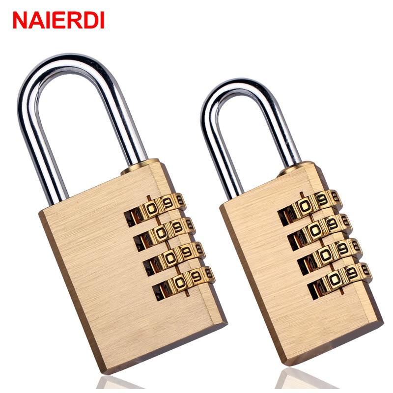 NAIERDI, твердая латунь, противотехнические цифровые комбинированные кодовые замки для багажа