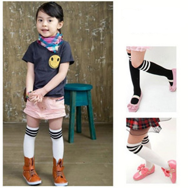 Buy 2-7 year Kid Girls Cotton Stripes Socks School High Knee Stock Pantyhose Free Shipping & Drop Shipping