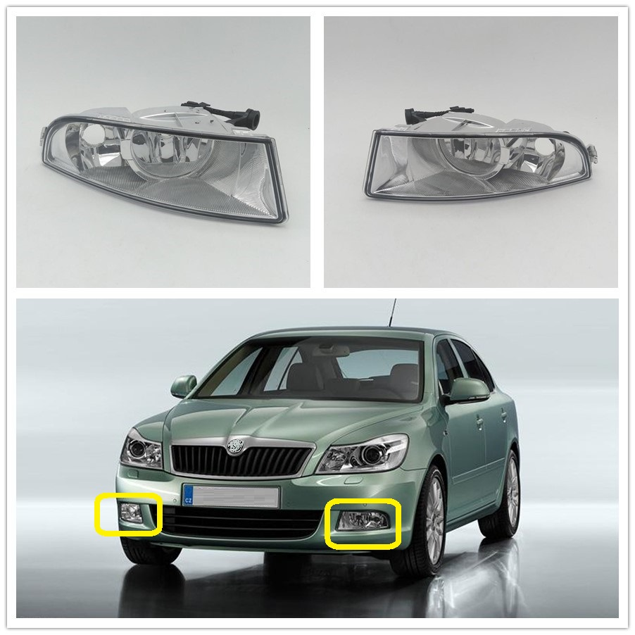 DFLA For Skoda Octavia A5 A6 MK2 FL 2009 2010 2011 2012 2013 Car-styling Front Halogen Fog Light Fog Lamp With 2 Bulbs Holes front fog lights for nissan teana 2004 2010 2011 2012 2013 2014 2015 auto bumper lamp h11 halogen car styling light bulb