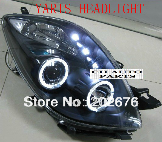 Free Shipping Toyota Yaris Angel Eye Headlight Embly V2 With And Bi