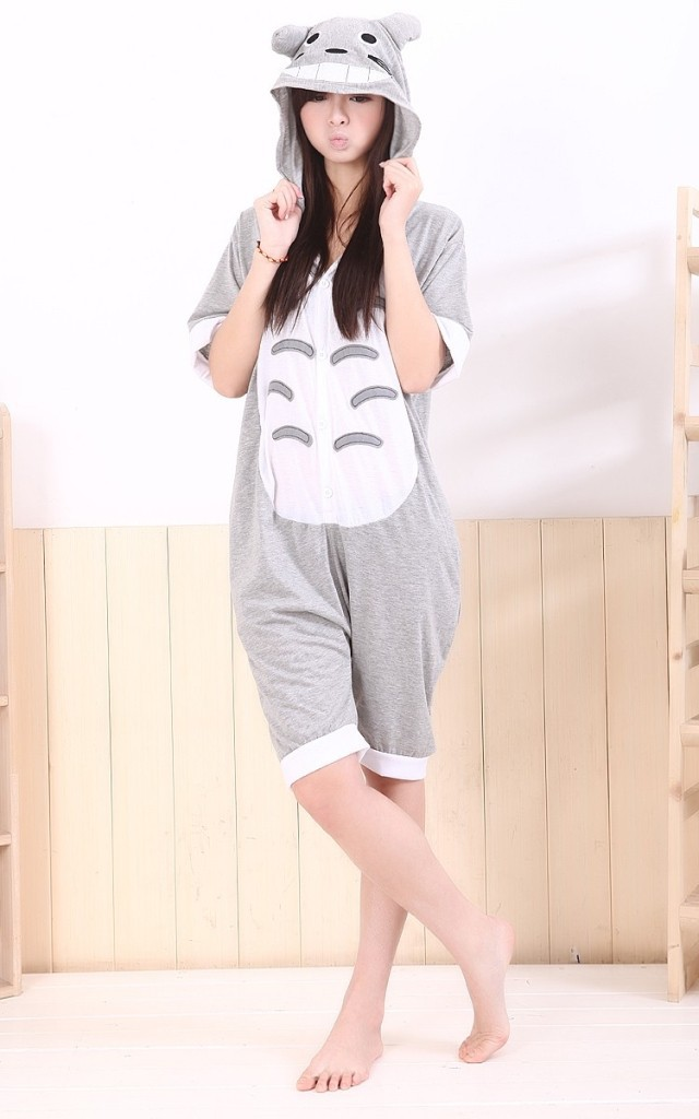 2016 Fashion Adult Summer Anime Totoro Onesie Cos Unisex Women Men Pajamas Cotton/Mesh Sleepwear Pyjamas S/M/L/XL