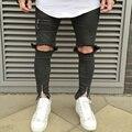 Мужские джинсы Бегунов ноги Тонкий Колено сломанный нож вырезать случайные штаны страх божий Проблемные байкер брюки скейт kanye west Cooo Coll