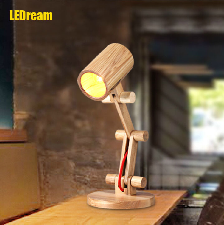 Creative personality for contemporary and contracted wooden desk lamp fold wood rocker fashionable living room contemporary and contracted fashion creative artistic personality nordic office led eye learning real wood desk lamp of bedroom