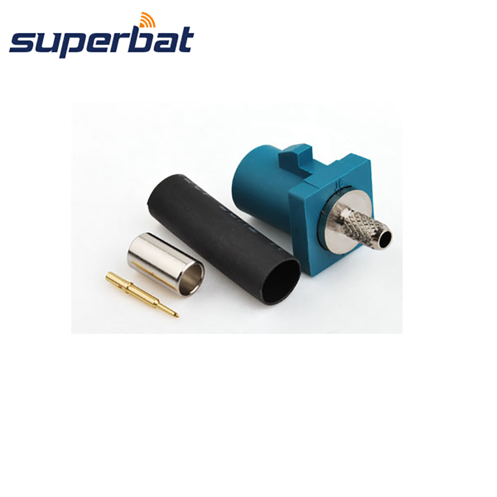 Superbat Car Audio Video Antenna Connector Fakra Z WaterBlue/5021 Neutral Coding Male Plug Crimp For Cable RG316 RG174 LMR100