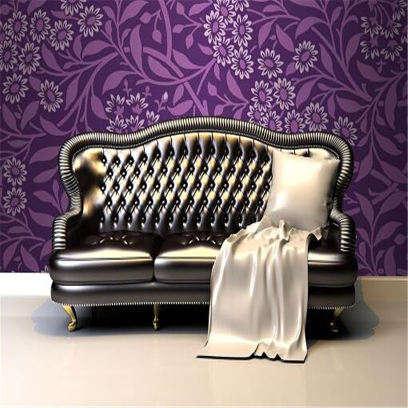 European Wallpapers Roll Purple Pattern Wall Stickers Luxury Floral Pattern Wallpapers for Living Room Bedroom Retro Wallpapers elegant diy purple mangnolia and letters pattern wall stickers for home decor