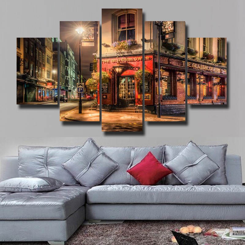 5P Wall Art Painting Canvas Print Living Room Decoration Modern Theme Be Quiet Block