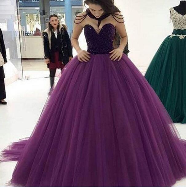 c64e622d8273 Purple Tulle Ball Gown Quinceanera Dresses 2019 Beading Sequines Long  Birthday Party Sweet 16 Dresses vestido de debutante