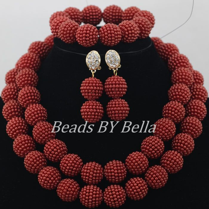 2017 Hot Wine Burgundy Balls African Wedding Beads Bridal Jewelry Sets Nigerian Party Beads Necklace Set Free Shipping ABF284