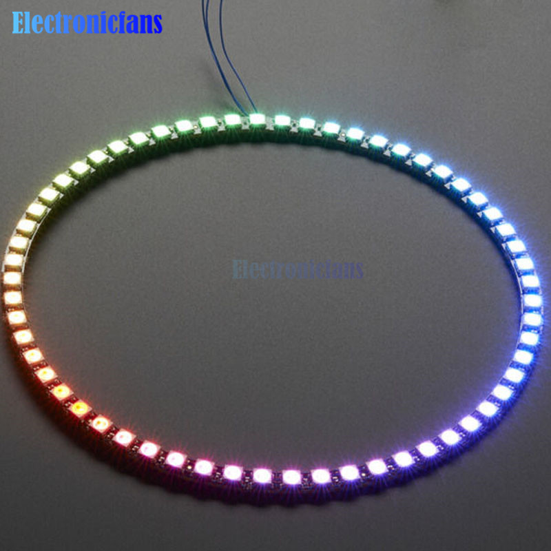 ws2812 watch - 60 Bits Digital WS2812 RGB LED Ring Full Color Highlighting WS2812 5050 SMD Leds Strip Module Microcontroller DC 5V for Arduino